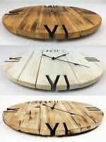 Hand Made Burnt Wooden Shabby Rustic Pallet Style Wall Clock Recycled Cottage
