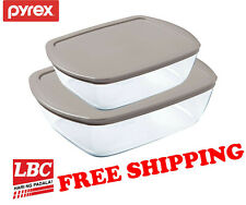Pyrex glass storage dish 2.5L + 1.1L grey made in France X corelle corningware