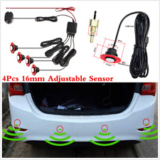 4pc 16mm Flat Parking Sensors Car Reverse Backup Radar System Sound Alarm White