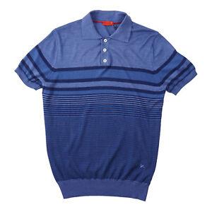 Isaia Slim-Fit Lightweight Superfine Silk-Cotton Polo Shirt M Blue/Navy Stripe