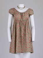 Vtg 90s Romantic Olive Prairie Pink Ditsy Rose Bud Floral Mini Smock Dress 12