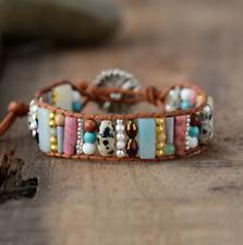 Natural Dalmatian Jasper Beaded Wrap Cuff Bracelet, Chakra Leather Oblong