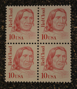 1987USA #2175 10c Red Cloud - Block of 4   Mint NH  indian
