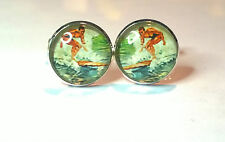 Vintage surf poster, glass domed water sport cufflinks,