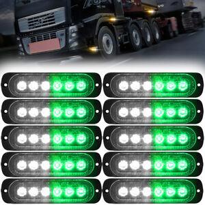 10X Green/White LED Car Truck Emergency Beacon Warning Hazard Flash Strobe Light