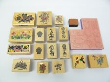 Lot Used Commotion Rubber Stamps Inkadinkado Plants Flowers Mounted Decorative
