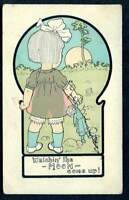 LITTLE GIRL HOLDING DOLL WATCHING THE MOON COME UP OLD POSTCARD