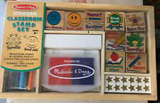 Melissa & Doug Wooden Classroom Stamp Set With Ink Pad Pencils Star Stickers