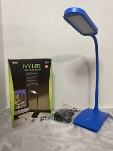 TW IVY LED USB Desk Lamp w/ Charging Port - Blue