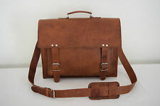 Mens Vintage Leather Office Briefcase Messenger Bag Laptop Satchel Shoulder Bag
