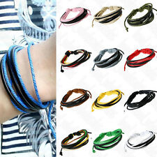 Unisex's Men Wristband Bracelet Handmade Multilayer Leather Cuff Braided Bangle