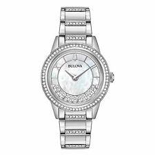 Reloj De Cuarzo Bulova 96L257 para mujer estilo de giro de Cristal Blanco