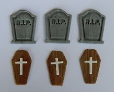 12 edible 3D GRAVE TOMBSTONE COFFIN HALLOWEEN cake topper CUPCAKE DECORATION