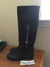 Authentic Brown Leather CHANEL CC Logo Knee High Boots EU 37.5 US 6.5 or 7