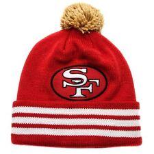 NEW MITCHELL & NESS SAN FRANCISCO 49ERS STRIPE CUFFED POM KNIT PIN BEANIE NFL SF