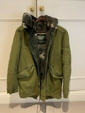 Mr & Mrs Italy Rabbit Fur Coat Hooded Parka Military Green Jacket L Large