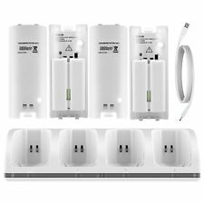 4X For Nintendo WII Remote Controller Dual Dock Charger Station Battery White UK