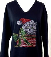 MEDIUM Hand Embellished Rhinestone Christmas Kitty Cat Package Top Shirt