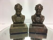 Antique Lg. Copper Bronze Clad Lincoln Bust Art Statue Sculpture Bookends