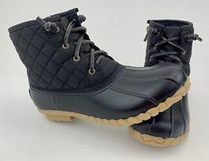 NEW Nautica Dorsay Duck Ankle Boots Women 7 Black Fleece Lined Rubber Rain Zip