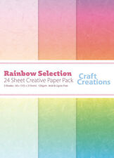 Craft Creations A5+ Scrapbook Paper Rainbow Mulberry Paper Effect Mixed 120gsm