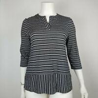 Talbots Womens Top Knit Striped Black White Size XL