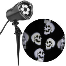 Gemmy LED Lightshow Projection Whirl-A-Motion White Skulls 0837979