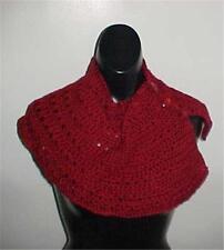 Hand Crochet Burgundy Button Down Neckwarmer #B102 NEW