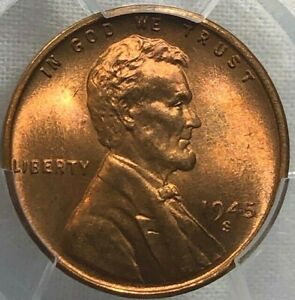 1945-S PCGS MS66+ RD Lincoln Wheat Cent 1c ~ Cherry BU Better Date Penny
