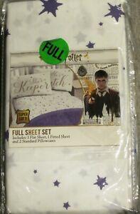 Harry Potter White & Purple 4 Pc Full Sheet Set  NEW!
