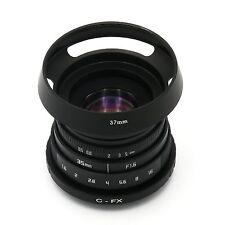 NEW Fujian 35mm F1.6 CCTV TV Movie lens + C Mount to Fuji Fujifilm X-Pro1 + Hood