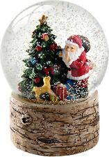 Boule à Neige Père Noël et Arbre de Noël Décoration avec Base de Bouleau