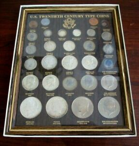 Framed Set 20th Century US Type Coins Barber Half Morgan Dollar 1937 Buffalo