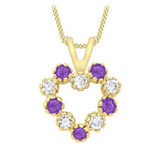 Heart Pendant Jewellery With Gift Box 9ct Yellow Gold White And Purple Cz