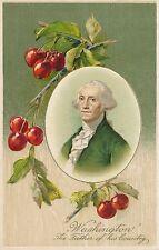 Washington and Cherries Washington's Birthday Patriotic Postcard - 1908