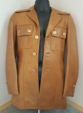 Golden Brown Leather Jacket Mens XS-S Short Trench Wide Collar Groovy Lined Vtg