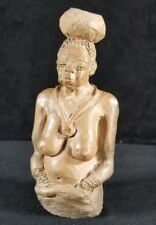 Handcrafted Fired Clay African Woman w Bowl On Head Figure 5.5x2.5 Signed Gibson