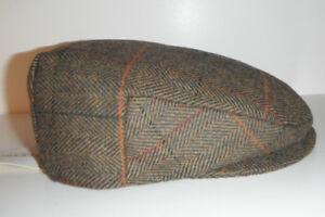STETSON DRIVING CAP HAT wool blend NEW MEDIUM LIGHT BROWN PLAID