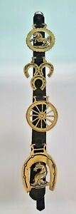 Lot of 4 Horse Brass on Hanging Leather Strap Brasses Wagon Wheel Horseshoe Bust