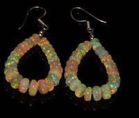 "4 to 6 mm Beads 2.5"" 925 sterling silver & Genuine  Ethiopian opal Earrings"