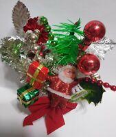 Vintage Christmas Corsage SANTA TREE Bells Mercury Glass Green Red package tie