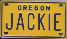 JACKIE Yellow Oregon - Mini License Plate - Name Tag - Bicycle Plate!