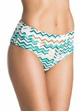 NEW ROXY Sun Sand and Salt Mid Waisted Bikini Bottoms Blue ARJX403124 M Medium