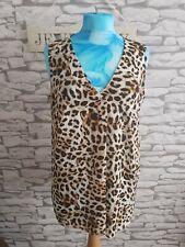 Leopard Print Vest Top Size 12 uk floaty cool summer