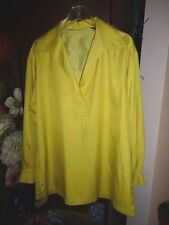 Vintage Ellen Tracy Lime Green Silk Doupioni Big Shirt / Tunic, Size 10, VGC
