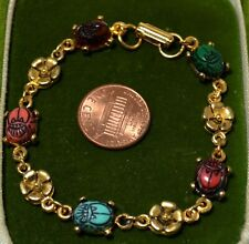 """Scarab and Flower Link Red Green Blue Cabochon Gold tone 7.5"""" Bracelet 7N 16"""