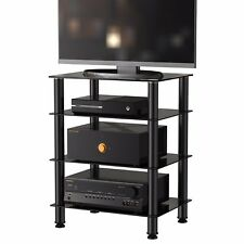 FITUEYES TV Meida Stand Entertainment Unit with 4 Glass Component Shelf Black