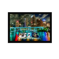 813 Tampa Bay Buccaneers Area Code Superbowl Art Wood Framed Picture Print