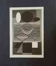 "Victor Vasarely ""Gotha from Cinetique""  Mounted b/w Lithograph  1973 PlateSigned"