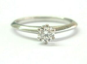 Tiffany & Co Platinum Round Cut Diamond Solitaire Engagement Ring .31CT H-VS2